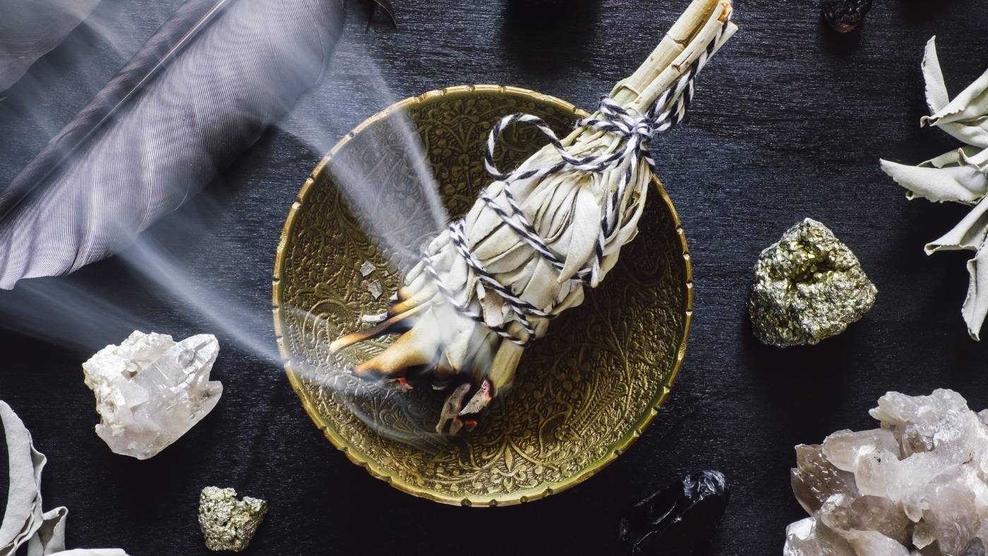 cleansing crystals with sage